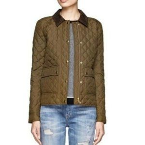 J. Crew Down Quilted Tack Jacket Olive Green XXS